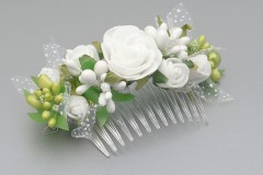 White Floral Rose Flower Comb