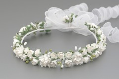 Floral White Rose Flower Crown with Organza Trails
