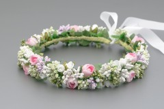 Floral Summer Flower Crown with Satin Ribbon Trail