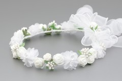 White Rose with Organza Flowers and Organza Trail Crown