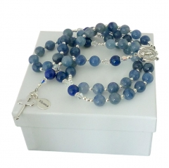 personalised rosary with blue aventurine & sterling silver