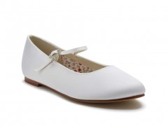 Rainbow Club - Binx - Plain White Satin Ballet Pump