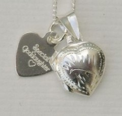 Delicate Sterling Silver Heart Locket & Chain  & sterling silver heart tag