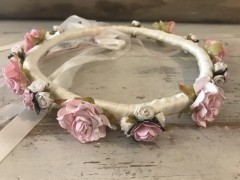 Handmade Satin Band Floral Crown with Cream & Pink  Flowers - Communion or Flower Gir