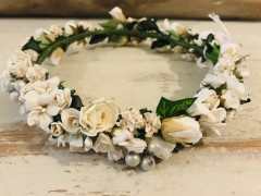 Handmade Floral Crown with White Flowers - Communion or Flower Girl