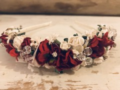 Handmade Floral Hairband with Red & White Flowers - Communion or Flower Girl