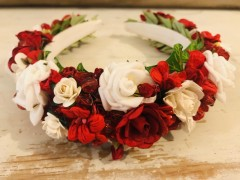 Handmade Red & White Floral Hairband - Communion or Flower Girl