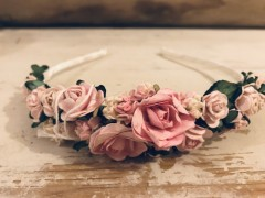 Handmade Floral Hairband with Pink Roses - Communion or Flower Girl