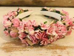 Handmade Floral Hairband with Pink Flowers - Communion or Flower Girl