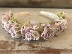 Handmade Floral Hairband with Light Pink & White Flowers - Communion or Flower Girl