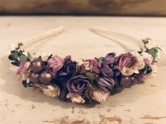 Handmade Floral Hairband with Lilac & Cream Flowers - Communion or Flower Girl