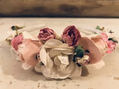 Handmade Floral Hairband with Pink & White Flowers - Communion or Flower Girl