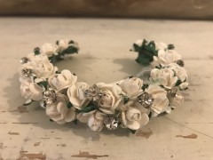Delicate Handmade Floral Bun Ring with White Flowers & Diamante