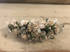 Handmade Floral Comb with White Flower, Diamante & Glass Beads