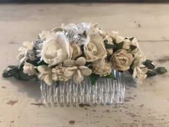 Handmade Floral Comb with White Flower & Glass Beads - Communion or Flower Girl - Communion or Flower Girls - Communion or Flower Girl - Communion or Flower Girl - Communion or Flower Girl Flower Girl Hair Accessory,