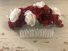 Handmade Floral Comb with Red & White Flowers - Communion or Flower Girl - Communion or Flower Girl - Communion or Flower Girl Flower Girl Hair Accessory, Communion Hair Accessory, Handmade Floral Comb, Floral Comb, Flower Comb, Flowe