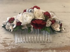 Handmade Floral Comb with Red & White Flowers & White Pearls - Communion or Flower Girl