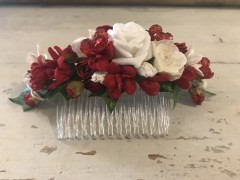Handmade Floral Comb with Red & White Flowers & Red Glass Beads - Communion or Flower Girl