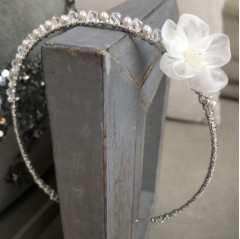 beautiful white organza flower clear Swarovski crystals and white Swarovski crystal pearls