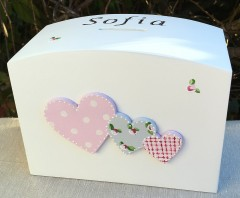 Personalised Christening Money Box - Hearts