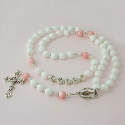 Personalised Name Rosary with White Jade and Pearl