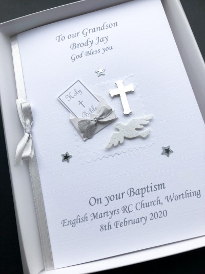 Silver Christening Card for Girl - Bible & Dove