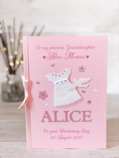 Pink Christening Card for Girl - Dress
