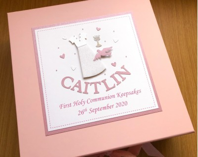 Girls Personalised First Communion Keepsake Box with Dress