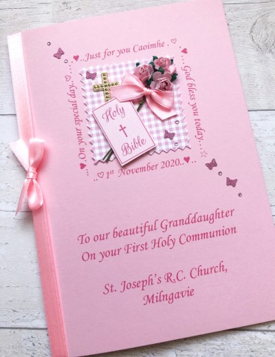 Girls Personalised First Communion Card - Bible & Pink Flowers