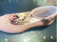 Pink Linen Floral Communion Shoes