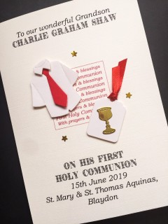 Boys Personalised First Holy Communion Card - Communion Shirt & Chalice
