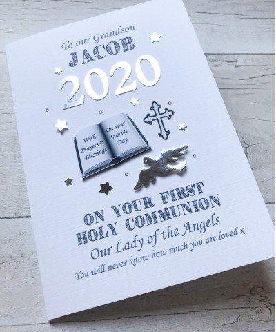 2020 - Boy's 2020 Personalised First Holy Communion Card