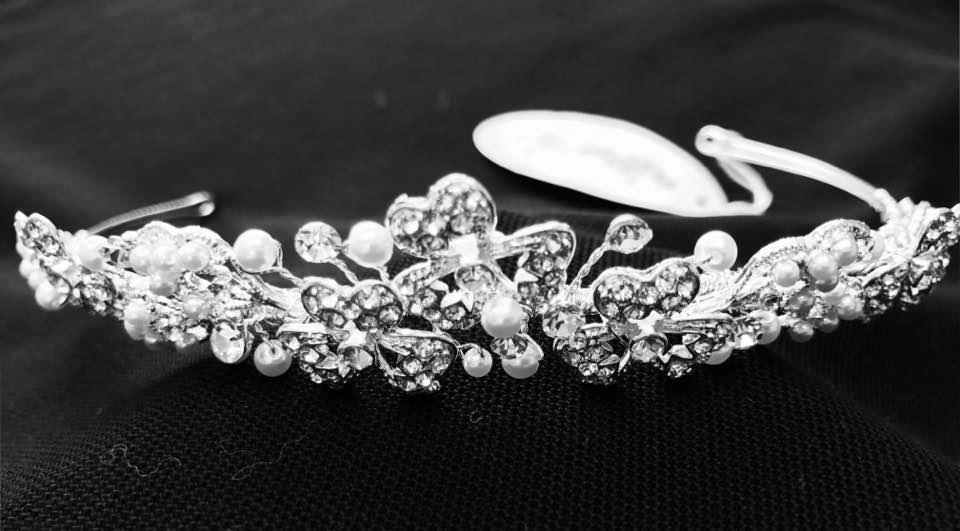 Simply Beautiful Diamante Crystal Holy Communion Girl Tiara with Cross Design
