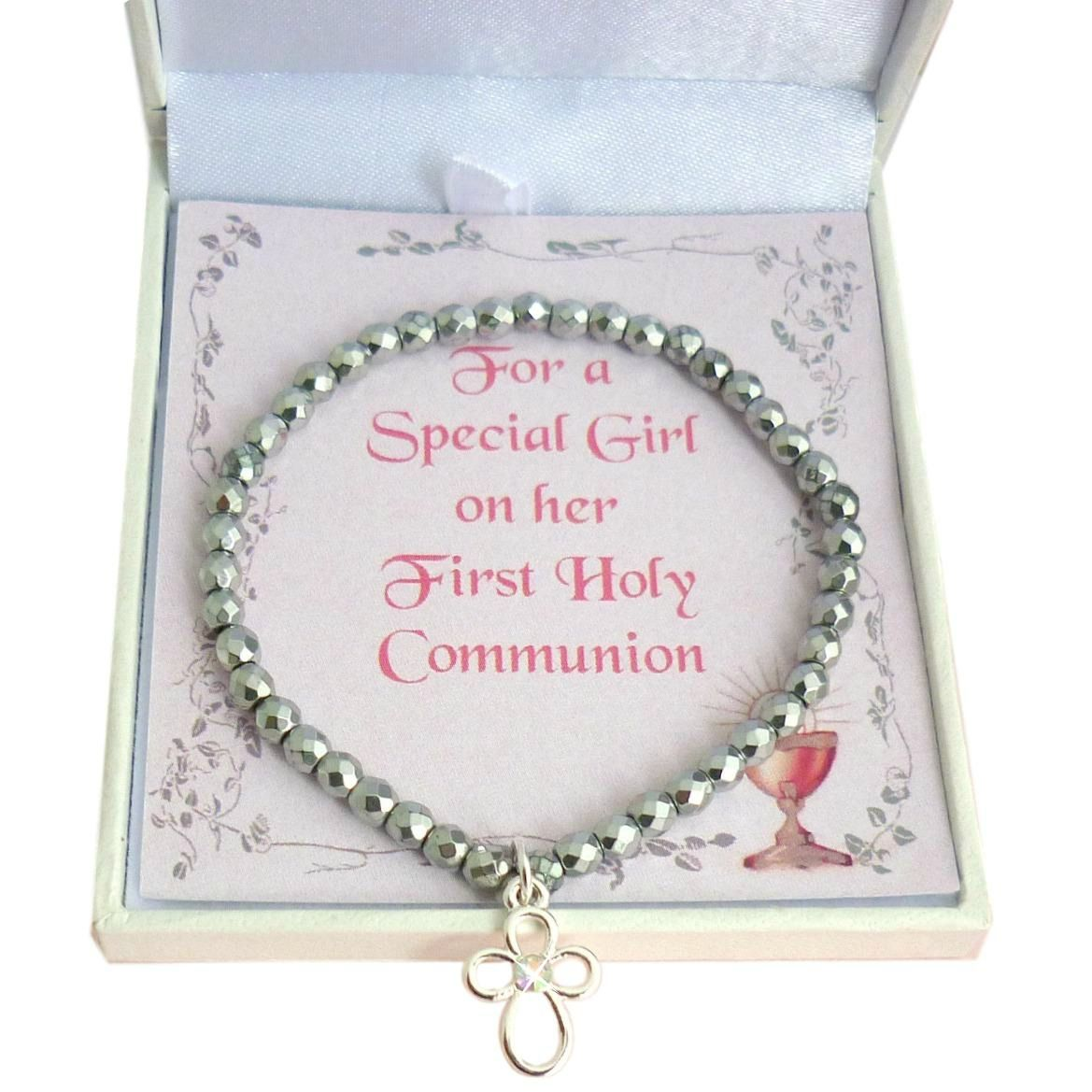 0e62f34a64e726 First Holy Communion Bracelet with Open Cross Charm & White Hemetite Beads