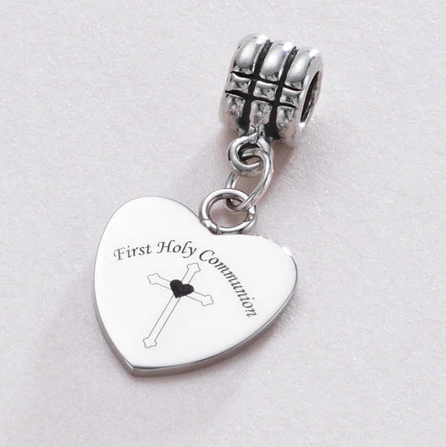 32e4129fc First Holy Communion Cross and Heart Charm fits Pandora Bracelet.