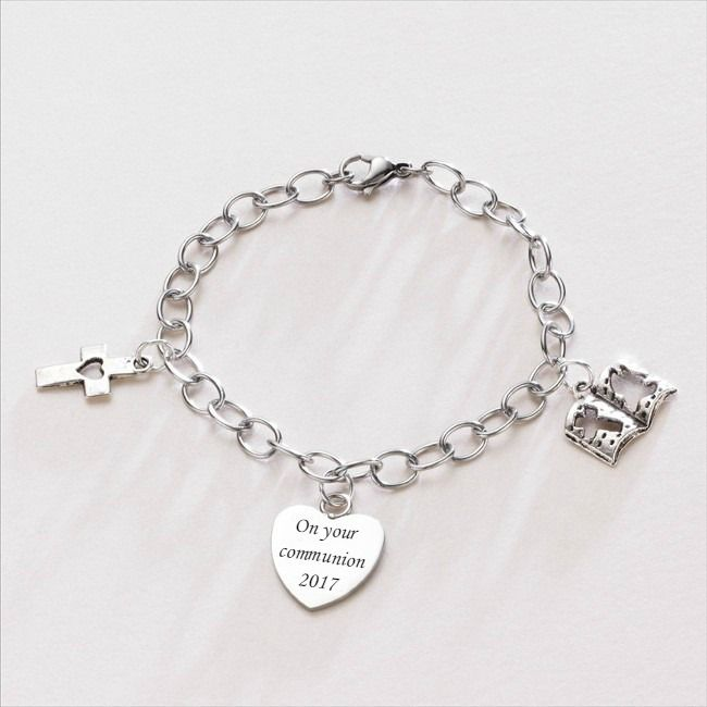 2bd0afe630289a Girls Charm Bracelet with Cross, Bible and Personalised Heart Charm