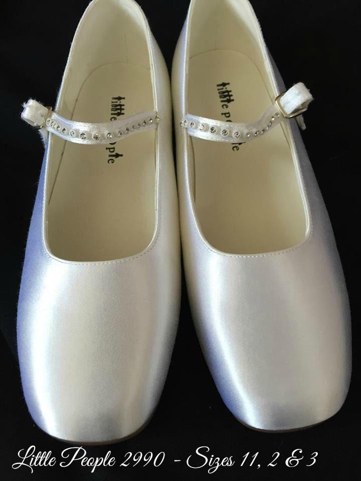 2055b2155 Girls White Satin Communion Shoes - Little People 2990
