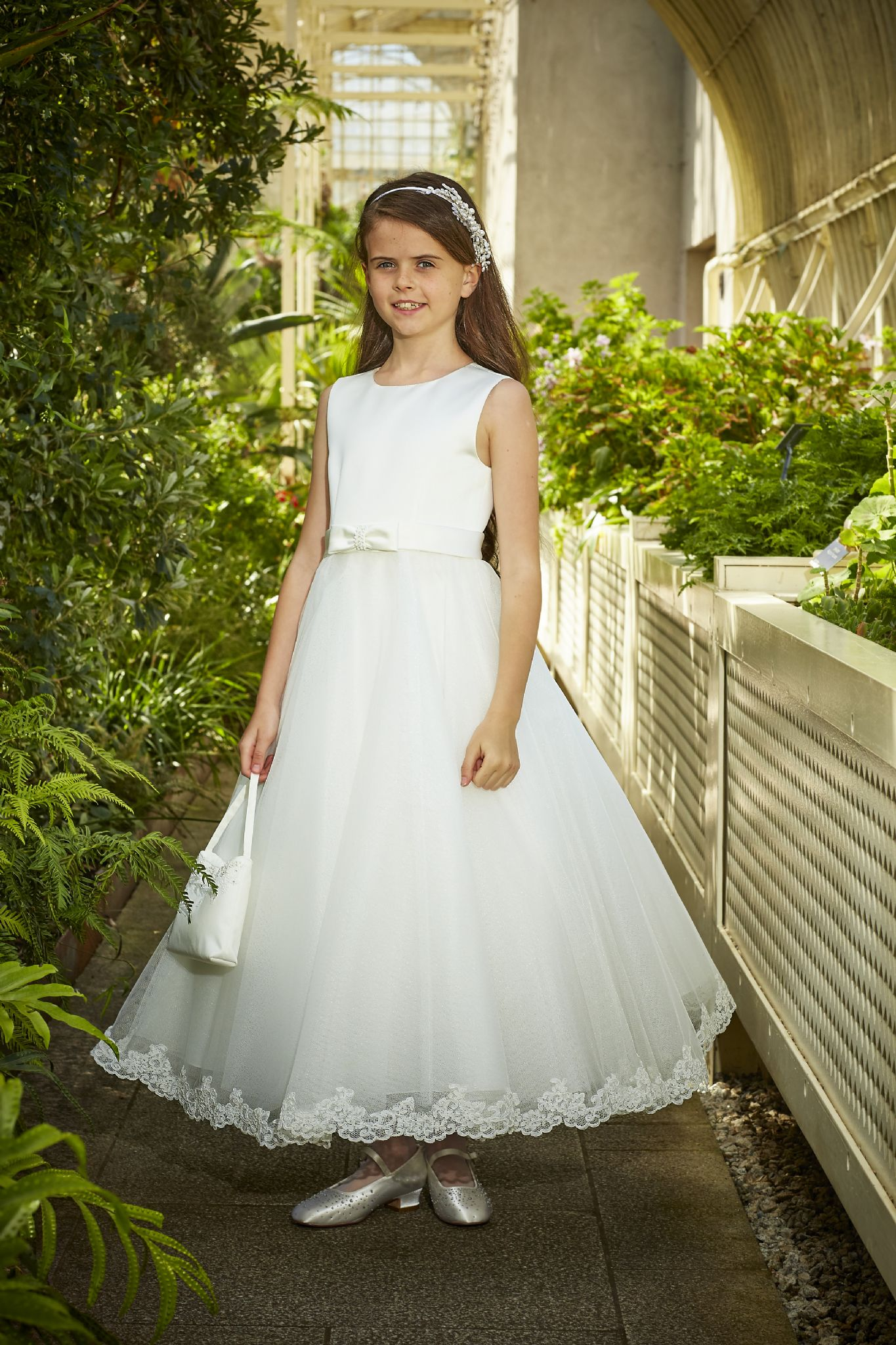 94b9df00146 AGE 7 ONLY - Isabella Satin and Organza with Lace Edge Dress - T Length-  IS18190