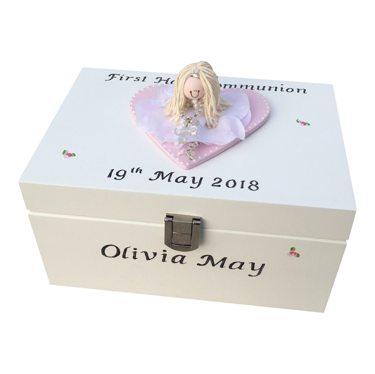 Personalised Communion Jewellery Box With Communion Girl Figurine