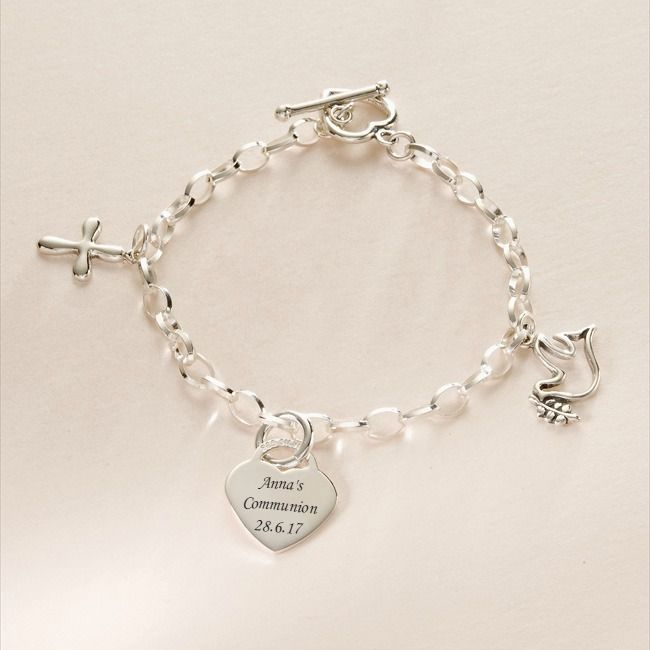 8263c0b3af6c25 Girls First Communion Charm Bracelets and Message Charms, Personalised Charm  Bracelet for Girl, Religious Charm Message Bracelets