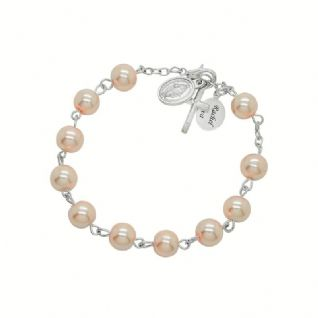 78ef0269d9fe2f Personalised Glass Pearl Rosary Bracelet with Tag. £16.99. holy communion  ...