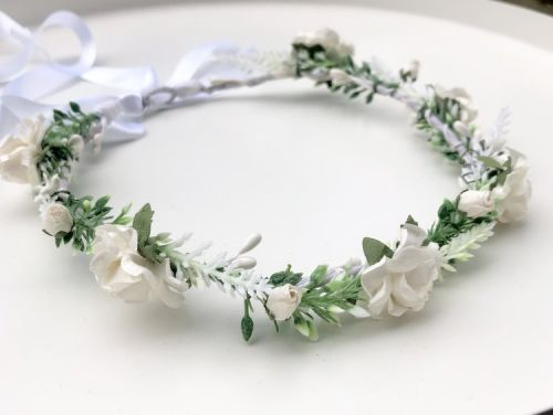 White / Ivory and Greenery Flower Crown